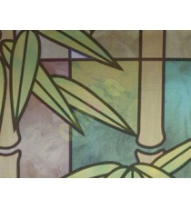 Brown green frosted bamboo with leaf decorative window glass stickers