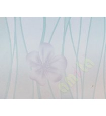 Blue purple flower with horizontal trendy lines decorative glass film