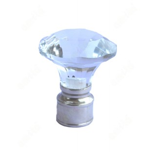 Transparent crystal funnel shape ss finial