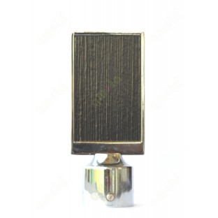 Pure brown stripes wooden finish with metal cover flat design ss finial