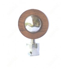 Yellow brown brown wooden finish with shiny metal round shape ss finial