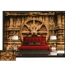 3d chariot wheels hanging palace wall mural