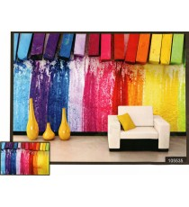 3d colourful hanging sponge with dropping colour wall mural