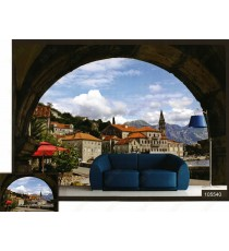 3d hill town village wall mural