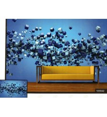 3d flying blue and silver colour square balls wall mural