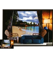 3d beach view wall mural