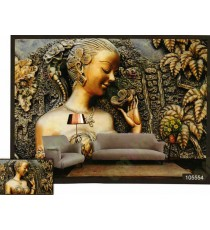 3d artificail brass finish lady art wall mural