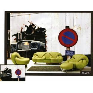 3d old british car workshop wall mural
