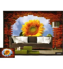 3d bricks wall sun flower wall mural