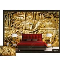 3d golden elephants wall mural