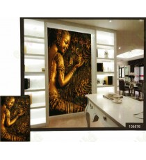3d playing  freedom golden lady with nature wall mural