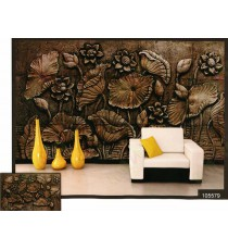 3d dark copper finish lotus flower wall mural