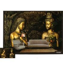 3d golden couples sculpture wall mural