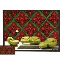 3d traditional design red and green colour wall mural