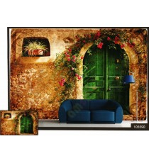 3d beautiful greek house door wall mural