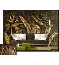 3d golden bird paradise wall mural