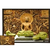 3d golden meditation buddha wall mural