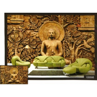 3d golden meditation buddha wall mural for Buddha mural art