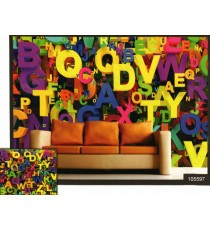 3d colourful alphabets wall mural