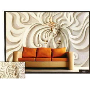 3d white beauty lady wall mural