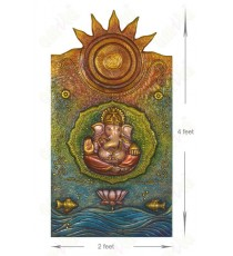 3d Ganesha green mural with goldfish water and sun
