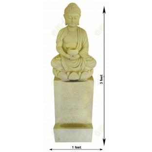 White colour meditating buddha fountain