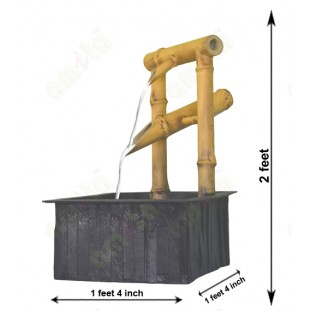 Black yellow natural look artificail bamboo fountain