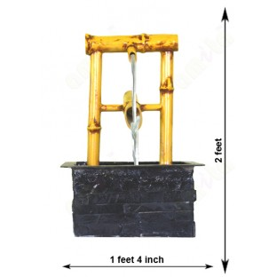 Black gold natural look artificail bamboo fountain
