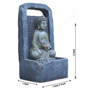 Black grey colour meditating buddha fountain
