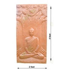 Brick colour meditating buddha mural under tree