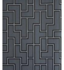Black grey puzzle pipes home décor wallpaper