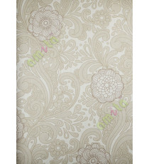 Beige brown green floral paisly design home décor wallpaper for walls