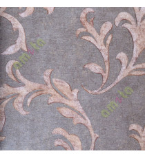 Chocolate brown  full traditional leafy design home décor wallpaper for walls