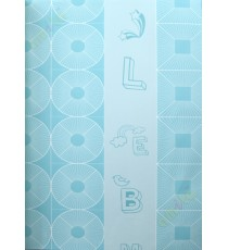 Blue white geometric alphabets star home decor wallpaper