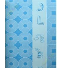 Aqua blue geometric alphabets star home decor wallpaper