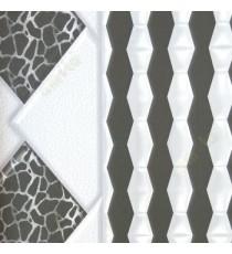 Black and white color geometric design big diamond shapes self texture leathrite finished 3D home decor wallpaper