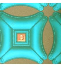 Blue brown peach color traditional concave square designs diamond shapes circle decorated edge patterns texture surface 3D home décor wallpaper