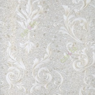 Beige Gold Silver Color Traditional Swirls Damask Design Cork Finished
