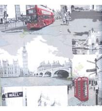 Red grey black color double décor bus capital clock telephone booth bridge river buildings direction pillar home décor wallpaper