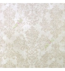 Beige cream grey color traditional big damask design texture finished block prints patterns swirls leaf home décor wallpaper