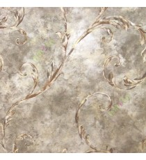 Dark brown beige gold color traditional big size swirls leaf floral design oil painting pattern beautiful look home décor wallpaper
