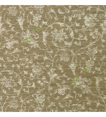 Dark brown gold color traditional swirls floral design texture finished horizontal chenille embossed surface home décor wallpaper
