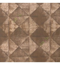 Dark brown gold beige color geometric diamond shapes slanting line crossings triangle texture finished home décor wallpaper
