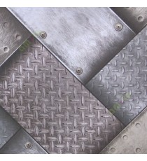 Black grey beige brown abstract design aluminium chequered plates metal nails screws scratches texture finished home décor wallpaper