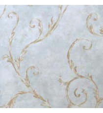 Blue brown green cream color traditional big size swirls leaf floral design oil painting pattern beautiful look home décor wallpaper