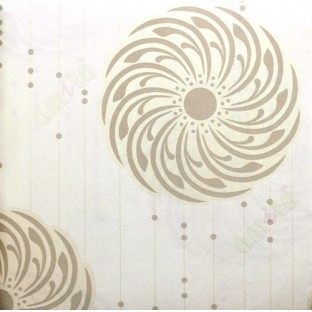 Beige brown gold abstract circle vertical lines with beads home décor wallpaper for walls