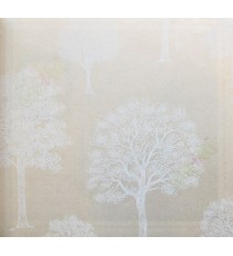 Beige white colour beautiful natural full tree design home décor wallpaper for walls