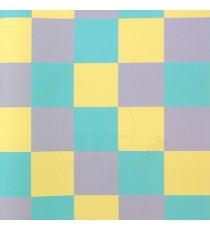 Yellow purple blue color geometric square shapes colourful pattern puzzles home décor wallpaper