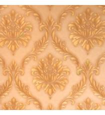 Beautiful gold brown color big damask carved damask designs texture finished background wallpaper