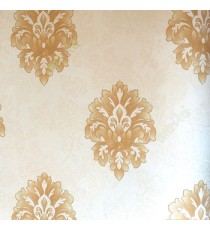Beautiful damask pattern beige gold color self design carved and texture finished wallpaper